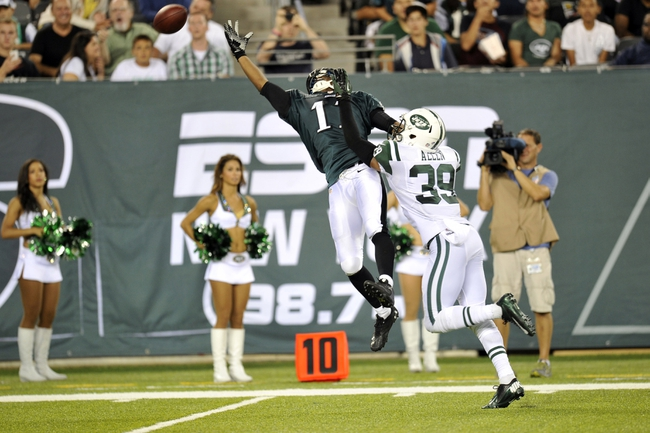 Aug 29, 2013; East Rutherford, NJ, USA; Philadelphia Eagles wide receiver Russell Shepard (11) is unable to make a catch against the New York Jets during the second half of a preseason game at Metlife Stadium. The Jets won 27-20. Mandatory Credit: Joe Camporeale-USA TODAY Sports