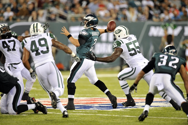 Aug 29, 2013; East Rutherford, NJ, USA; Philadelphia Eagles quarterback Matt Barkley (2) throws a pass against the New York Jets during the second half of a preseason game at Metlife Stadium. The Jets won 27-20. Mandatory Credit: Joe Camporeale-USA TODAY Sports