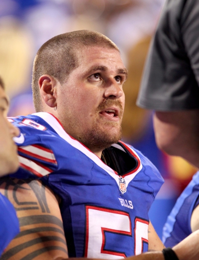 Aug 29, 2013; Orchard Park, NY, USA; Buffalo Bills center Doug Legursky (59) on the bench during the second half against the Detroit Lions at Ralph Wilson Stadium.  The Lions won 35-13.   Mandatory Credit: Timothy T. Ludwig-USA TODAY Sports