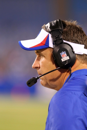 Aug 29, 2013; Orchard Park, NY, USA; Buffalo Bills head coach Doug Marrone during a game against the Detroit Lions at Ralph Wilson Stadium.  The Lions won 35-13.   Mandatory Credit: Timothy T. Ludwig-USA TODAY Sports