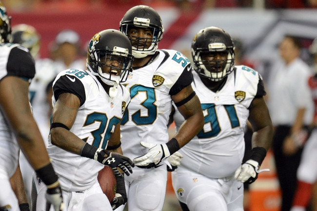 Aug 29, 2013; Atlanta, GA, USA; Jacksonville Jaguars defensive back Will Blackmon (36) reacts after intercepting a pass against the Atlanta Falcons during the fourth quarter at the Georgia Dome. The Jaguars defeated the Falcons 20-16. Mandatory Credit: Dale Zanine-USA TODAY Sports