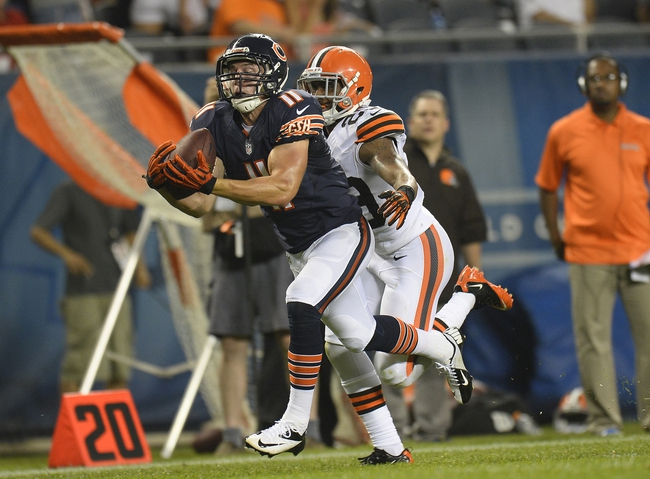 Aug 29, 2013; Chicago, IL, USA; Chicago Bears wide receiver Josh Lenz (11) makes a catch against Cleveland Browns cornerback Leon McFadden (29) during the fourth quarter at Soldier Field. The Cleveland Browns defeat the Chicago Bears 18-16.  Mandatory Credit: Mike DiNovo-USA TODAY Sports