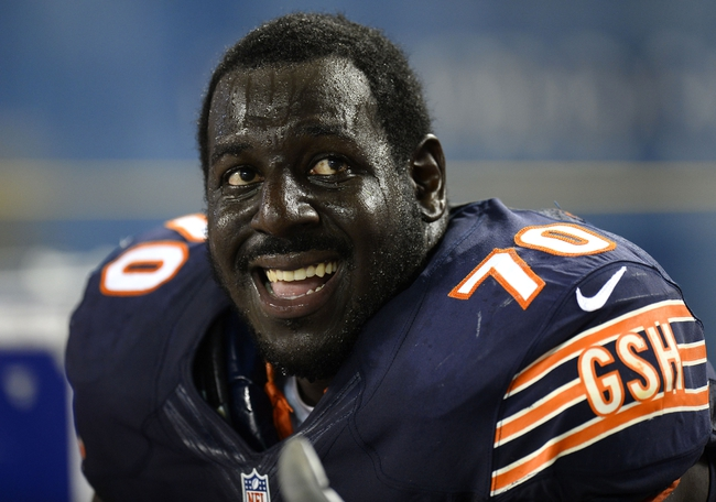 Aug 29, 2013; Chicago, IL, USA; Chicago Bears guard Edwin Williams (70) watches the game against the Cleveland Browns during the fourth quarter at Soldier Field. The Cleveland Browns defeat the Chicago Bears 18-16. Mandatory Credit: Mike DiNovo-USA TODAY Sports