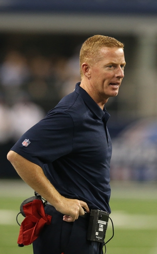 Aug 29, 2013; Arlington, TX, USA; Dallas Cowboys head coach Jason Garrett on the sidelines during the second half against the Houston Texans at AT&T Stadium. Mandatory Credit: Matthew Emmons-USA TODAY Sports