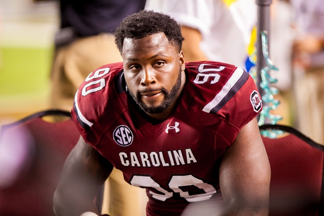 Aug 29, 2013; Columbia, SC, USA; South Carolina Gamecocks defensive end Chaz Sutton (90) on the sidelines against the North Carolina Tar Heels in the fourth quarter at Williams-Brice Stadium. Mandatory Credit: Jeff Blake-USA TODAY Sports