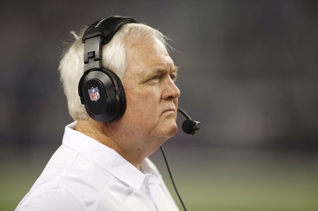 Aug 29, 2013; Arlington, TX, USA; Houston Texans defensive coordinator Wade Phillips watches game action on the sidelines during the second half against the Dallas Cowboys at AT&T Stadium. Houston beat Dallas 24-6. Mandatory Credit: Tim Heitman-USA TODAY Sports