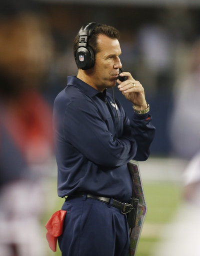 Aug 29, 2013; Arlington, TX, USA; Houston Texans head coach Gary Kubiak watches a play during the game against the Dallas Cowboys at AT&T Stadium. Houston beat Dallas 24-6. Mandatory Credit: Tim Heitman-USA TODAY Sports