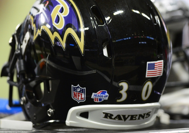 Aug 29, 2013; St. Louis, MO, USA; Baltimore Ravens running back Bernard Pierce (30) helmet sits on a locker during the second half against the St. Louis Rams at Edward Jones Dome. St. Louis defeated Baltimore 24-21. Mandatory Credit: Jeff Curry-USA TODAY Sports