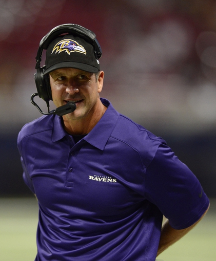 Aug 29, 2013; St. Louis, MO, USA; Baltimore Ravens head coach John Harbaugh looks on as his team plays the St. Louis Rams during the second half at Edward Jones Dome. St. Louis defeated Baltimore 24-21. Mandatory Credit: Jeff Curry-USA TODAY Sports