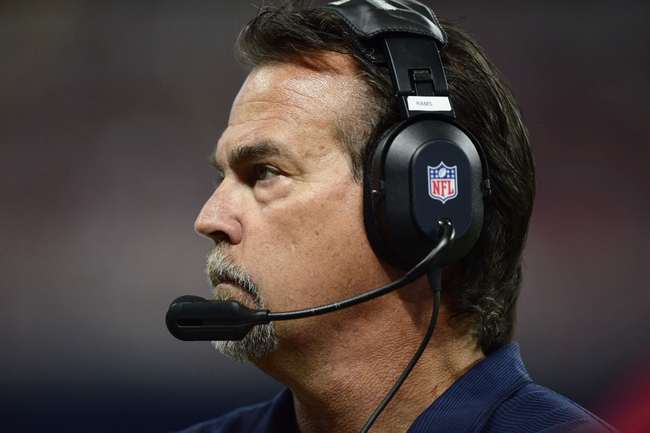 Aug 29, 2013; St. Louis, MO, USA; St. Louis Rams head coach Jeff Fisher looks on as his team plays the Baltimore Ravens during the second half at Edward Jones Dome. St. Louis defeated Baltimore 24-21. Mandatory Credit: Jeff Curry-USA TODAY Sports