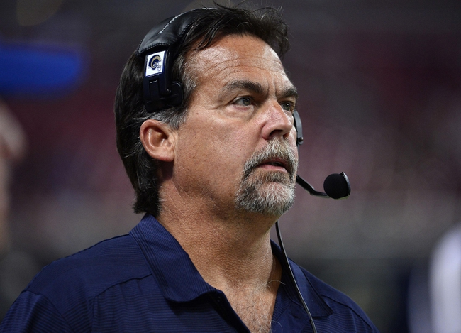 Aug 29, 2013; St. Louis, MO, USA; St. Louis Rams head coach Jeff Fisher watches a replay during the second half against the Baltimore Ravens at the Edward Jones Dome. The Rams defeated the Ravens 24-21. Mandatory Credit: Scott Rovak-USA TODAY Sports
