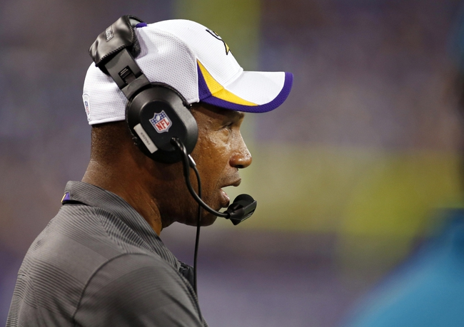 Aug 29, 2013; Minneapolis, MN, USA; Minnesota Vikings head coach Leslie Frazier talks during the game with the Tennessee Titans at Mall of America Field at H.H.H. Metrodome. Vikings win 24-23. Mandatory Credit: Bruce Kluckhohn-USA TODAY Sports