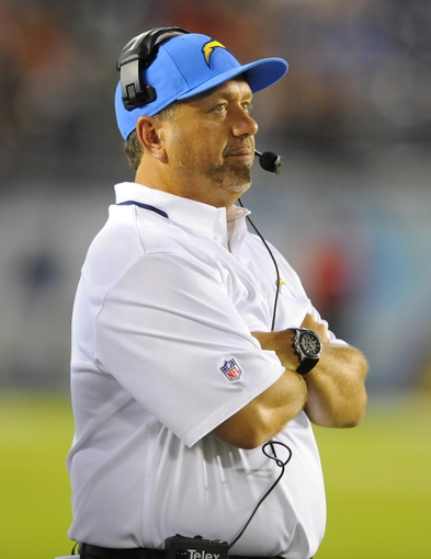 Aug 29, 2013; San Diego, CA, USA; San Diego Chargers defensive coordinator John Pagano looks on from the sidelines during the second half against the San Francisco 49ers at Qualcomm Stadium. Mandatory Credit: Christopher Hanewinckel-USA TODAY Sports