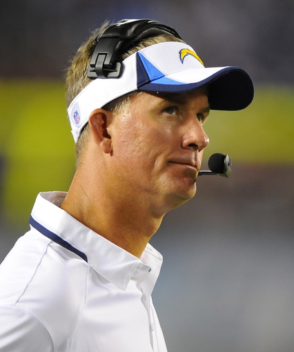 Aug 29, 2013; San Diego, CA, USA; San Diego Chargers head coach Mike McCoy looks on from the sidelines during the second half against the San Francisco 49ers at Qualcomm Stadium. Mandatory Credit: Christopher Hanewinckel-USA TODAY Sports