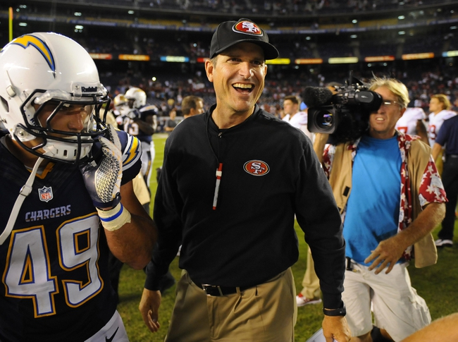 Aug 29, 2013; San Diego, CA, USA; San Francisco 49ers head coach Jim Harbaugh after a 41-6 win against the San Diego Chargers at Qualcomm Stadium. Mandatory Credit: Christopher Hanewinckel-USA TODAY Sports