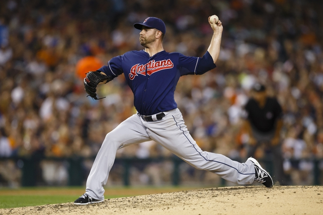 Aug 30, 2013; Detroit, MI, USA; Cleveland Indians relief pitcher Marc Rzepczynski (35) pitches fourth inning against the Detroit Tigers at Comerica Park. Mandatory Credit: Rick Osentoski-USA TODAY Sports