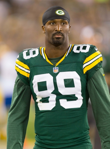 Aug 23, 2013; Green Bay, WI, USA; Green Bay Packers wide receiver James Jones (89) during the game against the Seattle Seahawks at Lambeau Field.  Seattle won 17-10.  Mandatory Credit: Jeff Hanisch-USA TODAY Sports