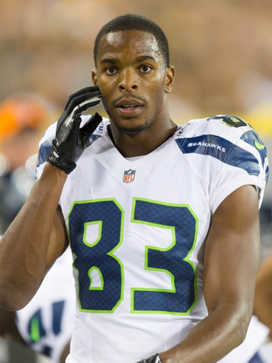 Aug 23, 2013; Green Bay, WI, USA; Seattle Seahawks wide receiver Stephen Williams (83) during the game against the Green Bay Packers at Lambeau Field.  Seattle won 17-10.  Mandatory Credit: Jeff Hanisch-USA TODAY Sports