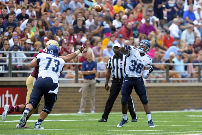Aug 31, 2013; Boston, MA, USA; Villanova Wildcats running back Gary Underwood (36) throws a pass which is intercepted during the first half against the Boston College Eagles at Alumni Stadium. Mandatory Credit: Bob DeChiara-USA TODAY Sports