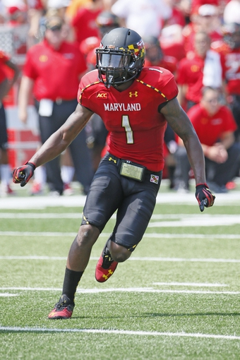 Aug 31, 2013; College Park, MD, USA; Maryland Terrapins kick returner Stefon Diggs (1) in action against the Florida International Panthers at Byrd Stadium. Mandatory Credit: Mitch Stringer-USA TODAY Sports