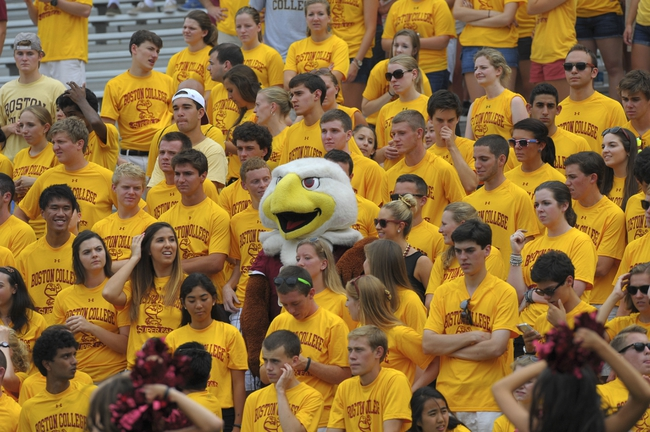 Aug 31, 2013; Boston, MA, USA; Boston College Eagles mascot Baldwin in the stands during the second half against the Villanova Wildcats at Alumni Stadium. Mandatory Credit: Bob DeChiara-USA TODAY Sports