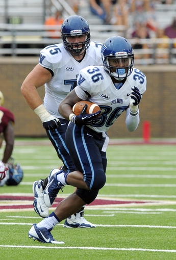 Aug 31, 2013; Boston, MA, USA; Villanova Wildcats running back Gary Underwood (36) runs with the ball during the second half against the Boston College Eagles at Alumni Stadium. Mandatory Credit: Bob DeChiara-USA TODAY Sports