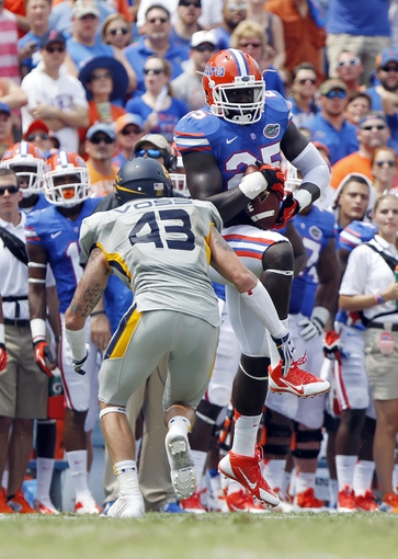 Aug 31, 2013; Gainesville, FL, USA; Florida Gators wide receiver/linebacker Gideon Ajagbe (25) catches the ball as Toledo Rockets linebacker Trent Voss (43) defends during the second half at Ben Hill Griffin Stadium. Florida Gators defeated the Toledo Rockets 24-6. Mandatory Credit: Kim Klement-USA TODAY Sports