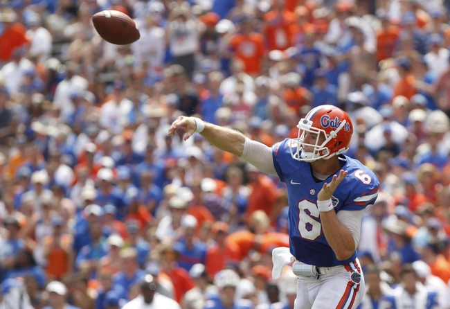 Aug 31, 2013; Gainesville, FL, USA; Florida Gators quarterback Jeff Driskel (6) throws the ball during the second half against the Toledo Rockets at Ben Hill Griffin Stadium. Florida Gators defeated the Toledo Rockets 24-6. Mandatory Credit: Kim Klement-USA TODAY Sports