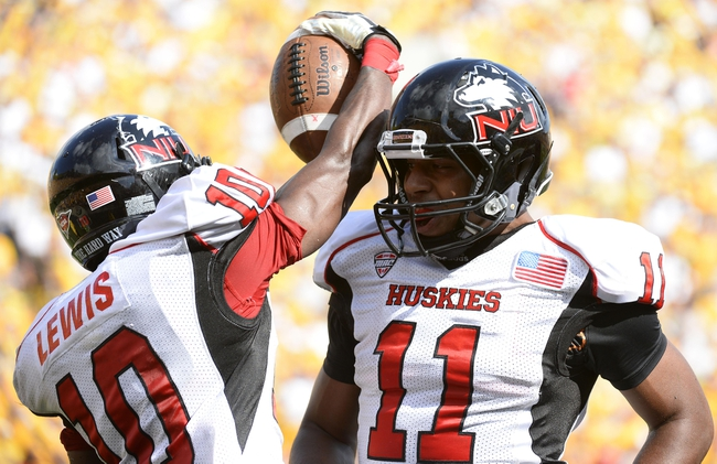 Aug 31, 2013; Iowa City, IA, USA; Northern Illinois Huskies wide receiver Tommylee Lewis (10) reacts after scoring a touchdown with wide receiver Juwan Brescacin (11) during the second quarter against the Iowa Hawkeyes at Kinnick Stadium. Mandatory Credit: Mike DiNovo-USA TODAY Sports