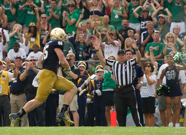 Aug 31, 2013; South Bend, IN, USA; Notre Dame Fighting Irish tight end Troy Niklas (85) scores in the second quarter against the Temple Owls at Notre Dame Stadium. Mandatory Credit: Matt Cashore-USA TODAY Sports