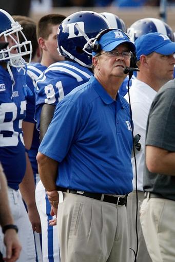 Aug 31, 2013; Durham, NC, USA; Duke Blue Devils head coach David Cutcliffe watches his team against the North Carolina Central Eagles at Wallace Wade Stadium. Mandatory Credit: Mark Dolejs-USA TODAY Sports