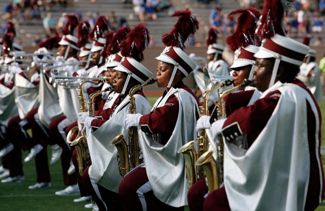 Aug 31, 2013; Durham, NC, USA; North Carolina Central Eagles marching band performs during halftime of their game against the Duke Blue Devils at Wallace Wade Stadium. Mandatory Credit: Mark Dolejs-USA TODAY Sports