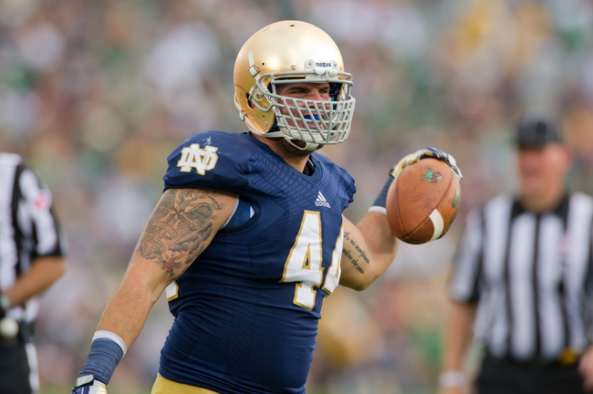 Aug 31, 2013; South Bend, IN, USA; Notre Dame Fighting Irish linebacker Carlo Calabrese (44) celebrates after a fumble recovery in the fourth quarter against the Temple Owls at Notre Dame Stadium. Notre Dame won 28-6. Mandatory Credit: Matt Cashore-USA TODAY Sports