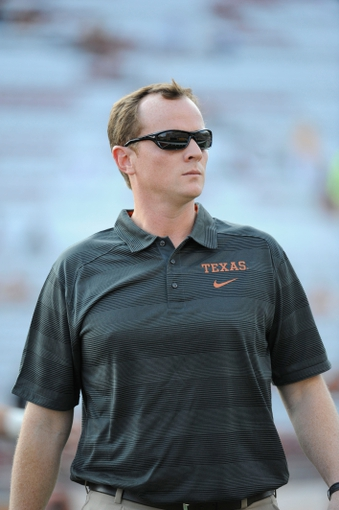 Aug 31, 2013; Austin, TX, USA; Texas Longhorns offensive coordinator Major Applewhite prior to kick-off against the New Mexico State Aggies at Darrell K Royal-Texas Memorial Stadium. Mandatory Credit: Brendan Maloney-USA TODAY Sports