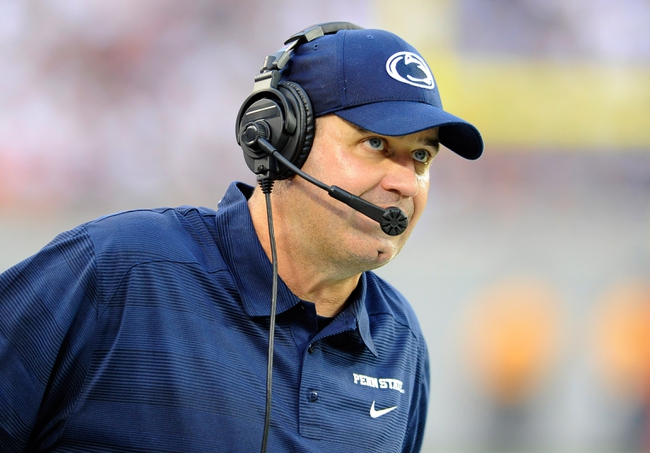 Aug 31, 2013; East Rutherford, NJ, USA; Penn State Nittany Lions head coach Bill O'Brien looks on during the third quarter against the Syracuse Orange at MetLife Stadium.  Penn State defeated Syracuse 23-17.  Mandatory Credit: Rich Barnes-USA TODAY Sports