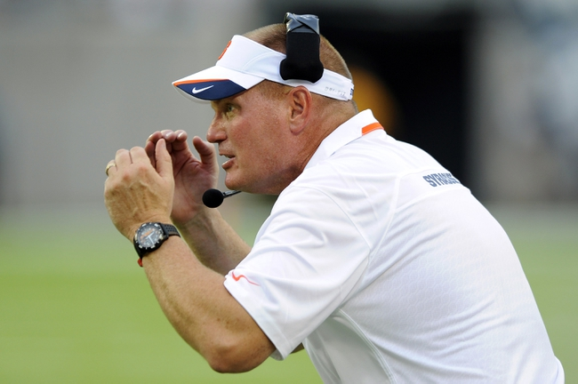 Aug 31, 2013; East Rutherford, NJ, USA; Syracuse Orange head coach Scott Shafer reacts during the third quarter against the Penn State Nittany Lions at MetLife Stadium.  Penn State defeated Syracuse 23-17.  Mandatory Credit: Rich Barnes-USA TODAY Sports