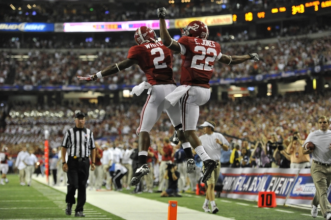 Aug 31, 2013; Atlanta, GA, USA; Alabama Crimson Tide wide receiver Christion Jones (22) celebrates a touchdown with wide receiver DeAndrew White (2) against the Virginia Tech Hokies during the third quarter of the 2013 Chick-fil-A Kickoff game at the Georgia Dome. Mandatory Credit: Paul Abell-USA TODAY Sports