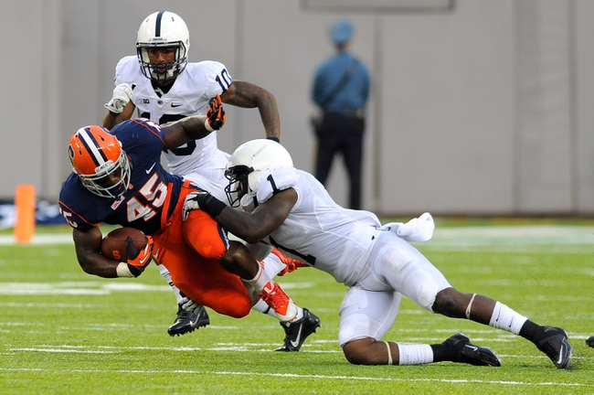 Aug 31, 2013; East Rutherford, NJ, USA; Syracuse Orange running back Jerome Smith (45) gets tackled by Penn State Nittany Lions safety Malcolm Willis (1) during the fourth quarter at MetLife Stadium.  Penn State defeated Syracuse 23-17.  Mandatory Credit: Rich Barnes-USA TODAY Sports