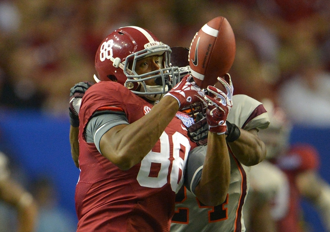 Aug 31, 2013; Atlanta, GA, USA; Alabama Crimson Tide tight end O.J. Howard (88) cannot hold onto the pass against the Virginia Tech Hokies during the fourth quarter of the 2013 Chick-fil-A Kickoff game at the Georgia Dome. Mandatory Credit: Paul Abell-USA TODAY Sports