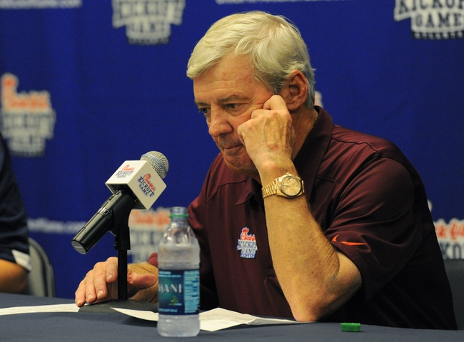 Aug 31, 2013; Atlanta, GA, USA; Virginia Tech Hokies head coach Frank Beamer addresses the media after the 2013 Chick-fil-A Kickoff game at the Georgia Dome. Alabama won 35-10.  Mandatory Credit: Dale Zanine-USA TODAY Sports