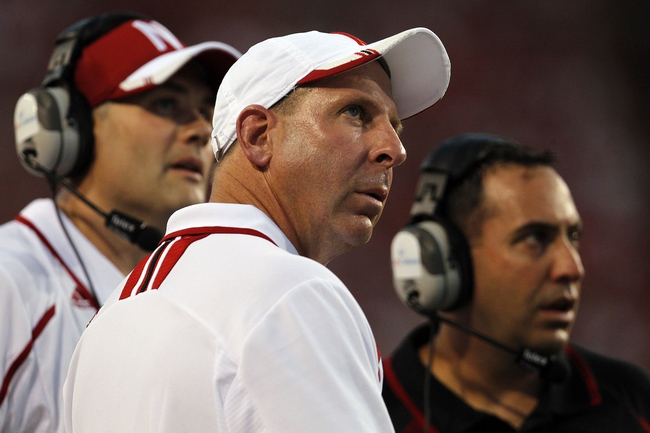 Aug 31, 2013; Lincoln, NE, USA; Nebraska Cornhuskers head coach Bo Pelini watches during the game against the Wyoming Cowboys in the first half at Memorial Stadium. Mandatory Credit: Bruce Thorson-USA TODAY Sports