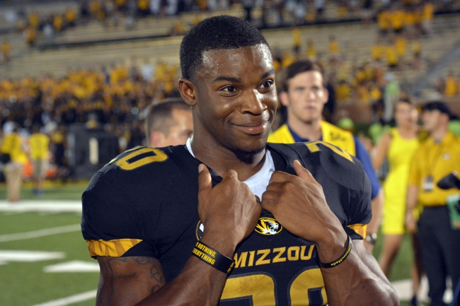 Aug 31, 2013; Columbia, MO, USA; Missouri Tigers running back Henry Josey (20) talks to media after the game against the Murray State Racers at Faurot Field. Missouri won 58-14. Mandatory Credit: Denny Medley-USA TODAY Sports