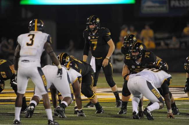 Aug 31, 2013; Columbia, MO, USA; Missouri Tigers quarterback Maty Mauk (7) goes under center during the second half of the game against the Murray State Racers at Faurot Field. Missouri won 58-14. Mandatory Credit: Denny Medley-USA TODAY Sports