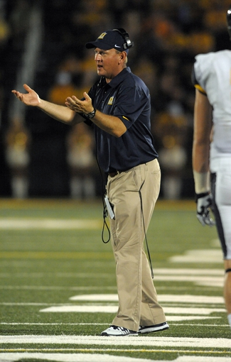 Aug 31, 2013; Columbia, MO, USA; Murray State Racers head coach Chris Hatcher reacts to play on the sidelines during the second half of the game against the Missouri Tigers at Faurot Field. Missouri won 58-14. Mandatory Credit: Denny Medley-USA TODAY Sports