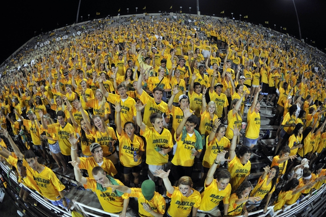 Aug 31, 2013; Waco, TX, USA; The Baylor Bears fans root for their team during the second half of the game against the Wofford Terriers at Floyd Casey Stadium. The Bears defeated the Terriers 69-3. Mandatory Credit: Jerome Miron-USA TODAY Sports