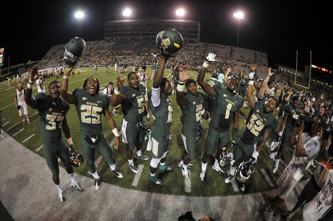 Aug 31, 2013; Waco, TX, USA; The Baylor Bears celebrate the win over the Wofford Terriers at Floyd Casey Stadium. The Bears defeated the Terriers 69-3. Mandatory Credit: Jerome Miron-USA TODAY Sports
