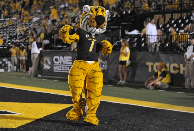Aug 31, 2013; Columbia, MO, USA; Missouri Tigers mascot Truman entertains the crowd during the second half of the game against the Murray State Racers at Faurot Field. Missouri won 58-14. Mandatory Credit: Denny Medley-USA TODAY Sports