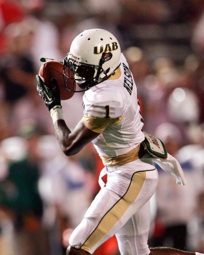 Aug 31, 2013; Troy, AL, USA; UAB Blazers wide receiver Jamarcus Nelson  (1) catches a pass against the Troy Trojans at Veterans Memorial Stadium. The Trojans defeated the Blazers 34-31 in Overtime. Mandatory Credit: Marvin Gentry-USA TODAY Sports