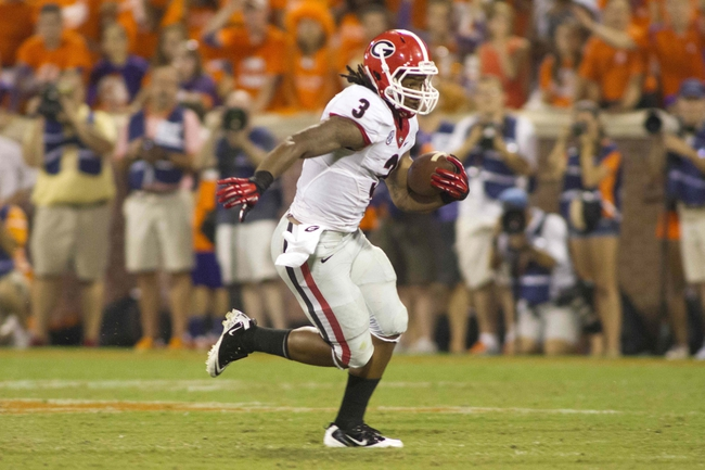 Aug 31, 2013; Clemson, SC, USA;  Georgia Bulldogs running back Todd Gurley (3) runs the ball during the fourth quarter against the Clemson Tigers at Clemson Memorial Stadium. Clemson defeated Georgia 38-35. Mandatory Credit: Jeremy Brevard-USA TODAY Sports