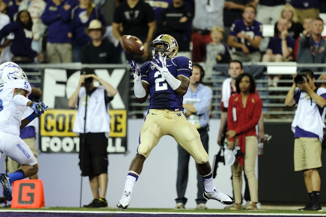 Aug 31, 2013; Seattle, WA, USA; Washington Huskies wide receiver Kasen Williams (2) catches a pass for a touchdown against the Boise State Broncos during the 2nd half at Husky Stadium. Washington defeated Boise State 38-6. Mandatory Credit: Steven Bisig-USA TODAY Sports